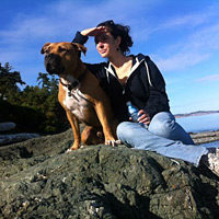 kelly and dog on saltspring